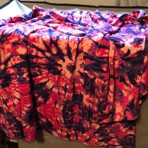 LuLaRoe L Maxi Skirt Pink Purple Tie-dye